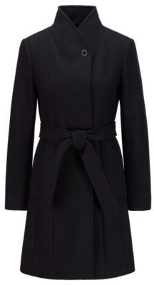 HUGO BOSS Belted Coat In A Virgin Wool Blend With Cashmere - Black