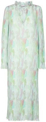 Ganni Printed pleated georgette midi dress