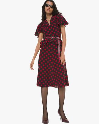 Michael Kors Collection Flutter Sleeve Peplum Dress