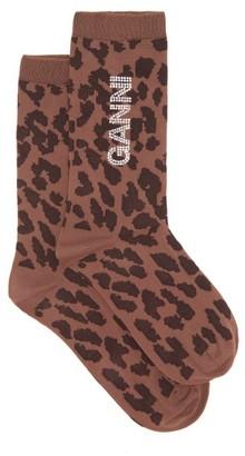 Ganni Crystal-logo Leopard-print Socks - Leopard