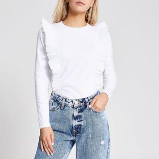 River Island Petite white pleated frill T-shirt