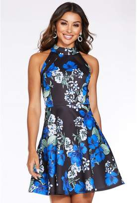 Quiz Black and Blue Floral Print High Neck Skater Dress