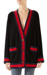 Gucci Ribbon Trim Tweed Cardigan