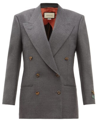 Gucci Oversized Double-breasted Wool Jacket - Womens - Grey
