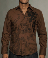 Rebel Spirit Brown 'Rebel Spirit' Back Cross Button-Up - Men's Regular