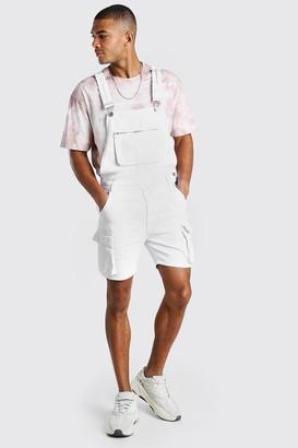 boohoo Mens White Denim Cargo Short Dungarees With Zip Pocket, White