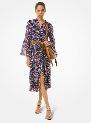 MICHAEL Michael Kors MK Floral Georgette Dress - Coral Peach - Michael Kors