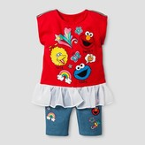 Sesame Street Toddler Girls' Top And Bottom Set - Red