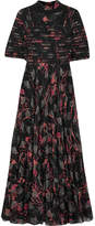 Valentino Embellished Lace-trimmed Floral-print Silk Crepe De Chine Gown - Black