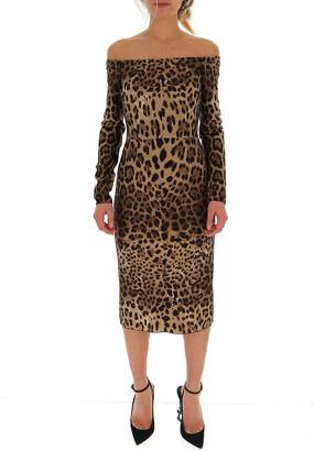 Dolce & Gabbana Off The Shoulder Animal Print Dress