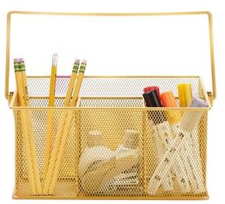 Mind Reader Metal Mesh Basket with Handle, Storage Basket Organizer, Utensil Holder, Forks, Spoons, Knives, Napkins, Perfect for Desk Supplies, Pencils, Pens, Staples, Gold