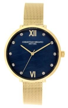 Christian Siriano New York Christian Siriano Women's Analog Gold-Tone Mop Stainless Steel Mesh Watch 38mm