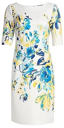 Teri Jon by Rickie Freeman Floral Scuba Dress