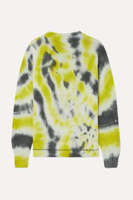 Prada Tie-dyed Wool And Cashmere-blend Sweater - Green