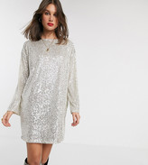Asos Tall DESIGN Tall sequin long sleeved mini dress