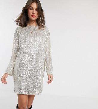Asos Tall DESIGN Tall sequin long sleeved mini dress-Silver
