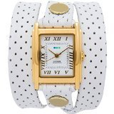 La Mer Perforated Simple Wrap Watch - Women's White Perforated/Gold, One Size