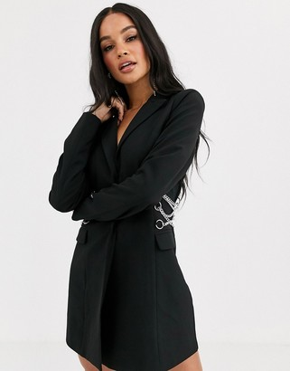 4th + Reckless blazer dress with strappy chain back detail in black