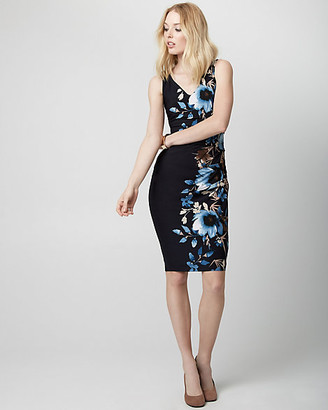 Le Château Floral Print Knit V-Neck Shift Dress