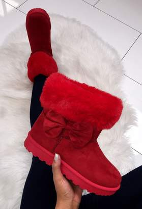 Pink Boutique Winter Princess Red Faux Fur Lined Boot