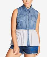 City Chic Trendy Plus Size Chambray Peplum Top