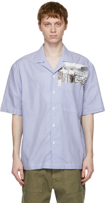 President's Blue Pinstripe Picture Print Rangi Short Sleeve Shirt