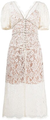 Self-Portrait Floral-Lace Fitted Dress