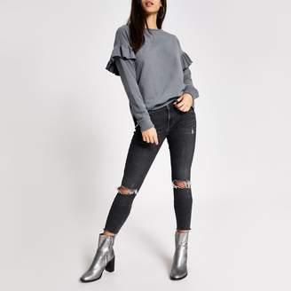 River Island Womens Grey long sleeve frill shoulder sweatshirt