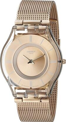 Swatch Unisex Analogue Swiss Quartz Watch with Rose Gold Bracelet SFP115M