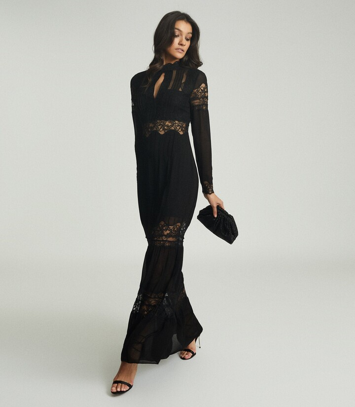Reiss Miranda - Open Back Lace Maxi Dress in Black