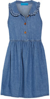 MiH Jeans Ruffle-trimmed Chambray Mini Dress - Mid denim