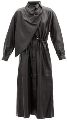 Dodo Bar Or Sitter Draped Leather Midi Dress - Black