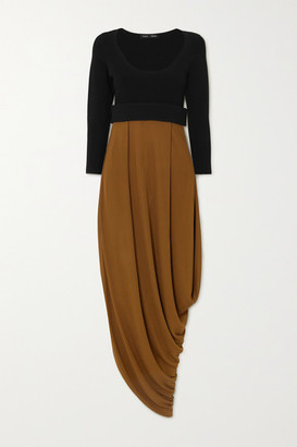 Proenza Schouler Draped Two-tone Jersey Midi Dress - Brown