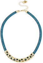 Betsey Johnson Gold-Tone Blue Crystal Mesh Filled Collar Necklace
