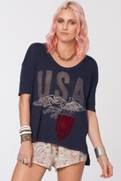 Chaser LA USA Eagle Boxy Flow Tee in Sapphire