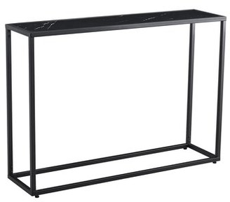 Everly Quinn Winward 41.73'' Console Table Table Top Color: Black, Table Base Color: Black