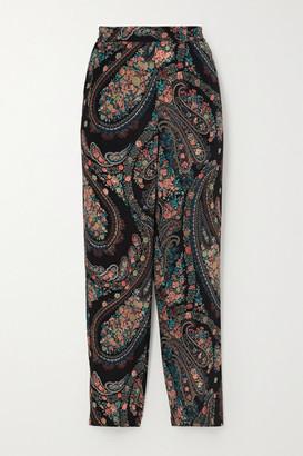 Etro Cropped Paisley-print Silk-crepe Slim-leg Pants - Black