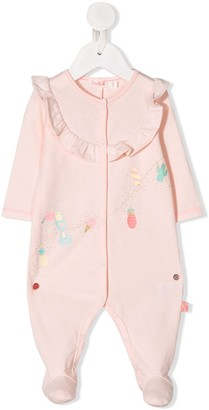 Billieblush Tropical Motif Embroidered Babygrow