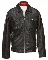 GUESS Benson Faux Leather Trucker Jacket