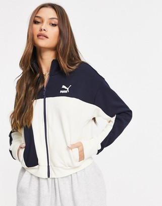 Puma x Central Saint Martins cropped track jacket in navy