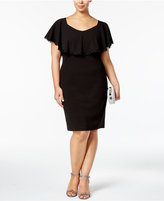 Betsy & Adam Plus Size Lace-Trim Overlay Sheath Dress