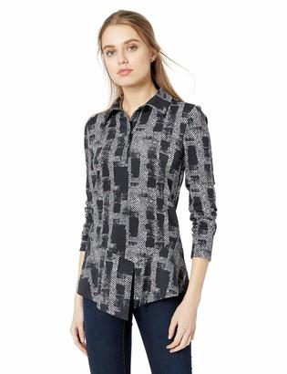 Nicole Miller Women's Painted Herringbone Collared Shirts