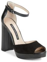French Connection Dimara Suede & Leather Peep-Toe Platform Sandals