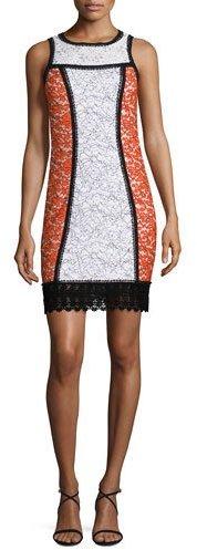 Andrew Gn Sleeveless Colorblock Lace Shift Dress, Cream/Poppy