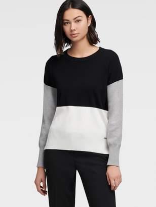 DKNY Long Sleeve Color Block Sweater