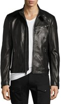 Ralph Lauren Randall Leather Café Racer Jacket, Black