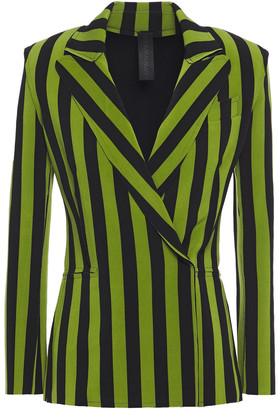 Norma Kamali Double-breasted Striped Jersey Blazer