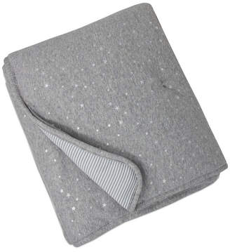 Living Textiles Quilted Comforter - Metallic Stars + Grey Heathered Stripes Bedding