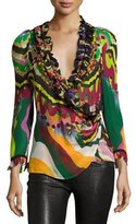 Roberto Cavalli Ruffled Dreamscape Wrap Blouse, Green/Multi