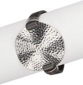 Saachi Dark Grey Silver Hammered Watch Bracelet